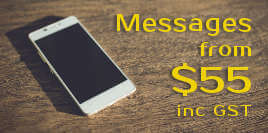 Messages from $55 inc. GST